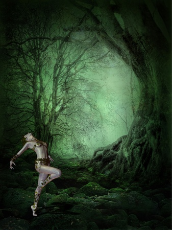 3d rendering of a young woman who dances in the dark, mystical forest as illustration Standard-Bild