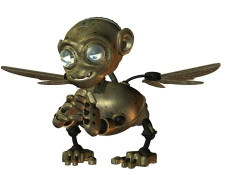 3d Rendering little evil monkey made of metal Stock Photo - 10428527