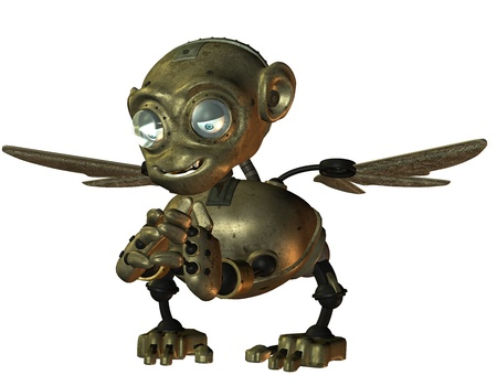 3d Rendering little evil monkey made of metal Stock Photo - 10428527