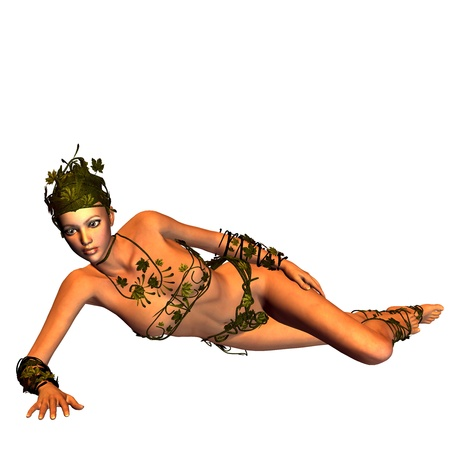 3d rendering of a young woman  on leaves costume in lying posing as illustration Stock Illustration - 10466175