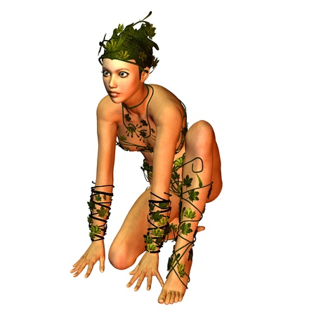3d rendering of a young woman in costume leaves in a squatting pose as an illustration Stock Illustration - 10466176