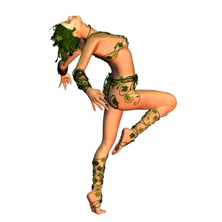 3d rendering of a dancer in a bikini leaf illustration Stock Illustration - 10466180
