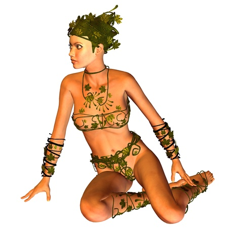 3d rendering of a seated woman in  bikini leaf as illustration Stock Illustration - 10466179
