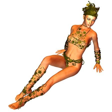 mujer desnuda sentada: Representación 3D de una mujer joven en un medio de descanso se presentan como una ilustración Foto de archivo
