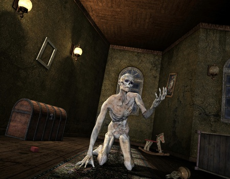 undead: 3D Rendering - Undead in an old room Stock Photo