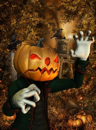 3d rendering of a pumpkin for halloween man as illustration illustration