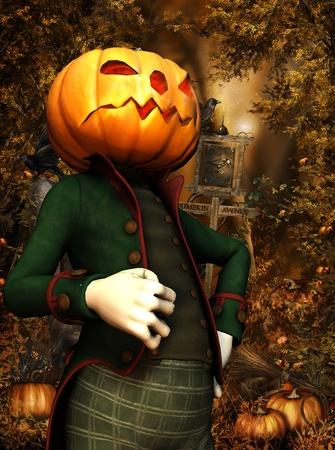 arrogant: 3d rendering of a pumpkin man in the woods as illustration