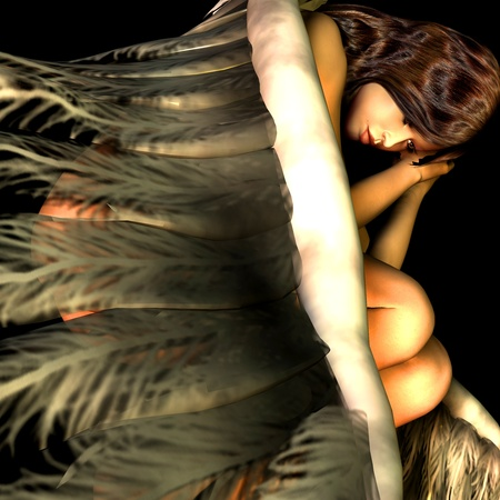 messengers of god: 3d rendering of a resting angel as illustration