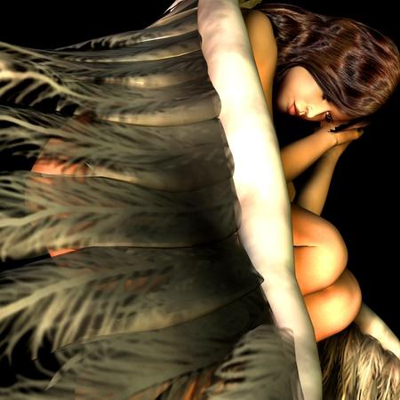 angel de la guarda: Representación 3D de un ángel en reposo como ilustración Foto de archivo