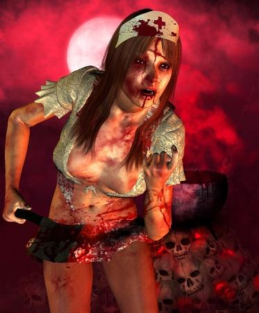 3d rendering a psysisch sick nurse as illustration illustration