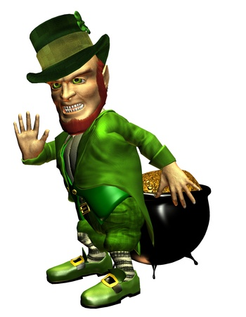 defensive: 3d rendering of the Irish myth leprechaun with his pot of gold on the defensive as illustration