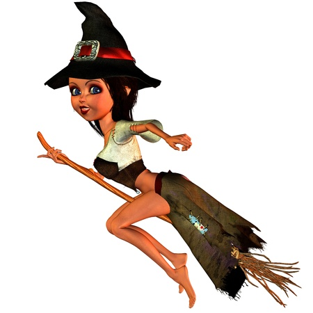 3d witch: 3d rendering of a little witch flying on broom as illustration in comic style Stock Photo