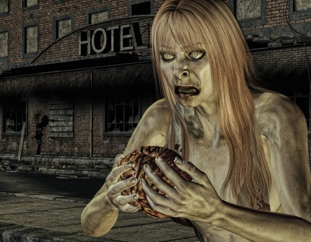 undead: 3D rendering zombie in front of a destroyed hotel