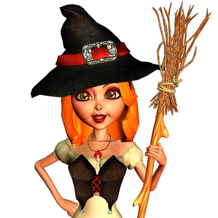 3d witch: 3d rendering of a friendly witch as a portrait illustration Stock Photo