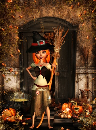 3d witch: 3d rendering of a little halloween witch in the autumn as illustration Stock Photo