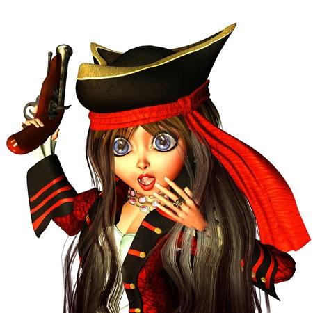 pirata mujer: representación 3D de una novia pequeño pirata con pistola al estilo cómico como ilustración Foto de archivo
