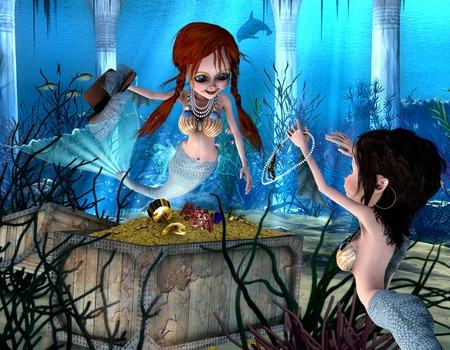 under water: 3d render of two mermaids, who enjoy a treasure as illustration in the comic style Stock Photo