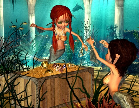 woman underwater: 3d render of two mermaids, who enjoy a treasure as illustration in the comic style Stock Photo