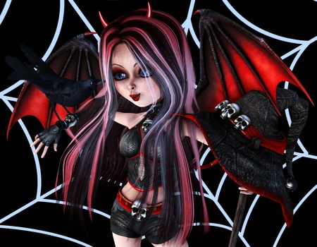 3d rendering of a little devil with a crow in the comic style illustration Stock Illustration - 10871048