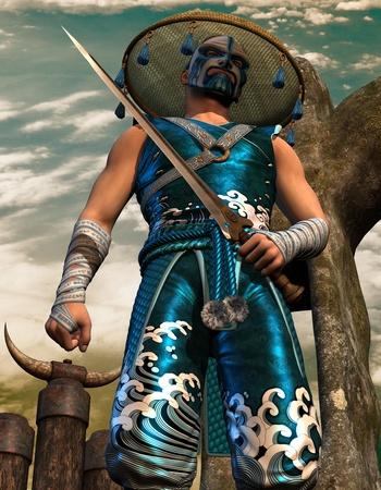samourai: 3D chasse épée Rendu dans les vêtements de samouraï