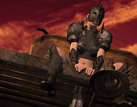 3D Renderingwoman sitting in leather armor Stock Photo - 10871054