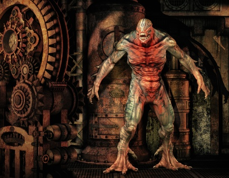 engine room: 3D Rendering Aliens creatures in the engine room
