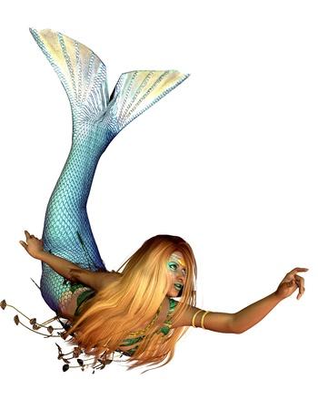 fantasy makeup: Representación 3D de una sirena en una piscina plantean ilustración
