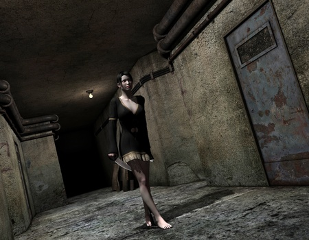 timid: 3D rendering timid woman with knife