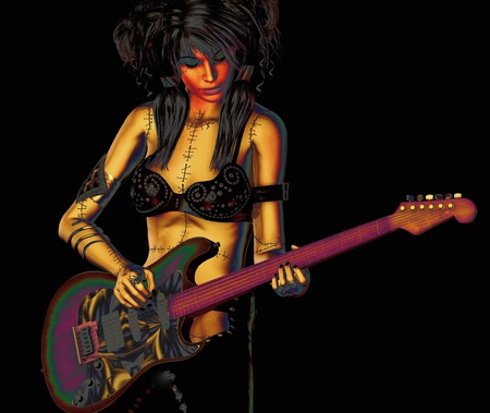 3d rendering of a rock `n roll lady with guitar as  illustration illustration