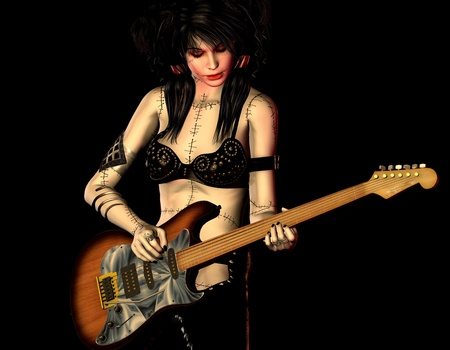 3d rendering illustration of a rocker with a guitar illustration