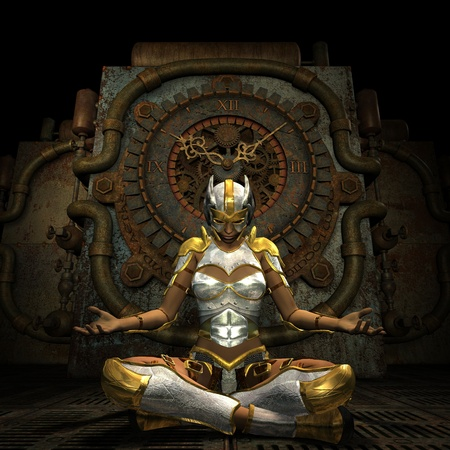 thinking machine: 3d Rendering Woman in armor while meditating Stock Photo
