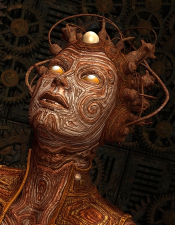 artificial intelligence: 3D Rendering Extraterrestrial creature with implant