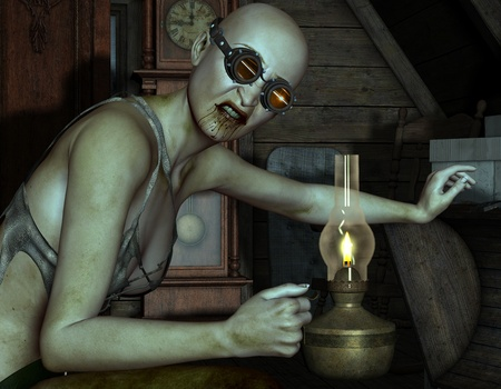 goggle: 3D Rendering Zombie with goggles and oil lamp Stock Photo