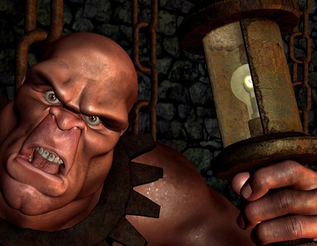 roughneck: Portrait of a 3d rendering illustration as monsters with lamp