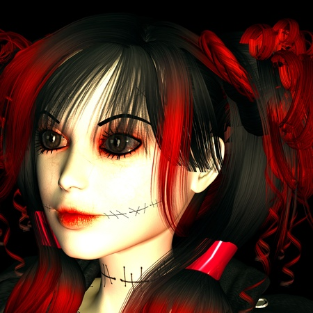 3d rendering as a goth girl as portrait illustration illustration
