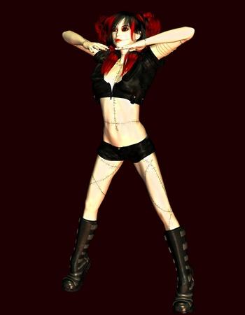 gogo girl: 3D-Rendering als Illustration eines sexy doll Lizenzfreie Bilder