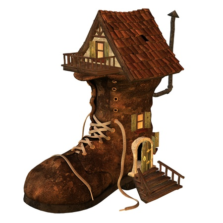 wooden shoes: 3d rendering of an old boots house as an illustration in comic style