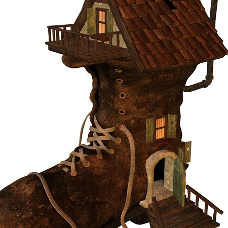 wooden shoes: 3d rendering of an old boots house in detail as an illustration Stock Photo