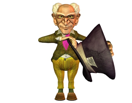 3d rendering of an old man with a big hat as illustration in comic style Stock Illustration - 11209923