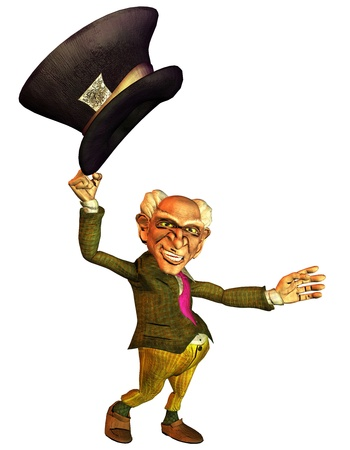 gnome: 3d rendering of an old man with the cylinder swung to a greeting in comic style as illustration