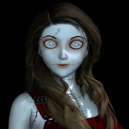 scary girl: 3D Rendering - Doll with scars