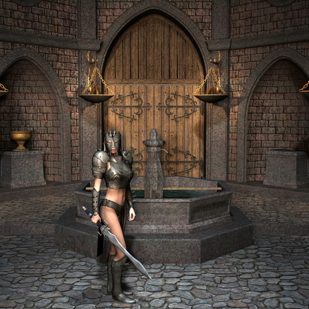 warrior pose: 3D Rendering - Sword fighter in the courtyard