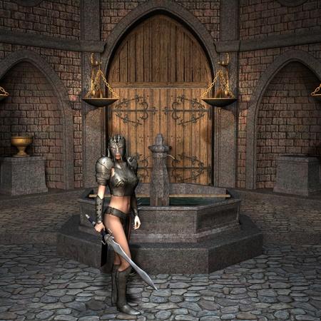 3D Rendering - Sword fighter in the courtyard