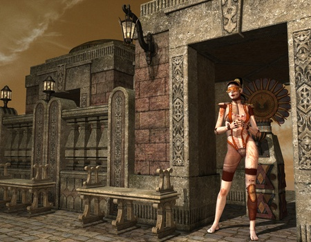 3D glasses: 3D Rendering Cyber Girl of an ancient temple