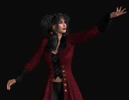 frock coat: 3d rendering of a young woman with attitude pointing as illustration Stock Photo