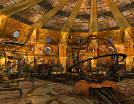 3D Rendering Interior view of a time machine