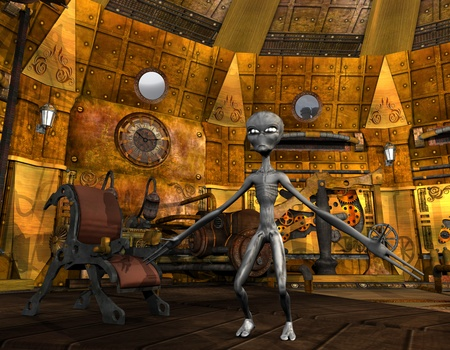 time machine: 3D Rendering Alien in a time machine