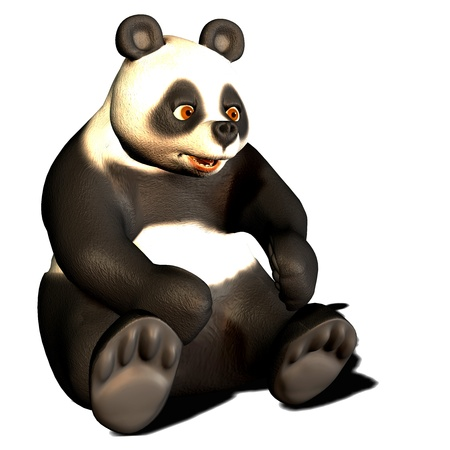 3d rendering of a seated panda bear as illustration