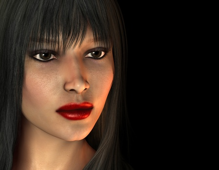 dark haired woman: 3D Rendering Portrait of dark haired woman with red lipstick