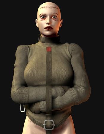 mislead: 3D Rendering Mislead women with straitjacket